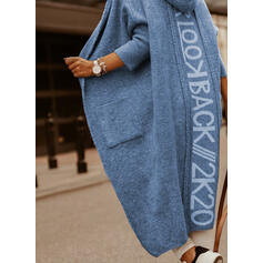 Print Fickor Hooded Casual Cardigan