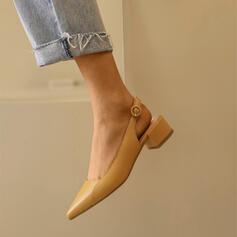 Mulheres PU Salto robusto Bombas Fechados Dedo pontudo com Fivela sapatos