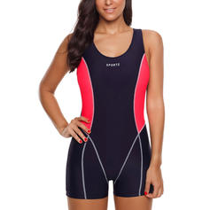 Splice color U Neck Sports Plus Size One-piece Swimsuits