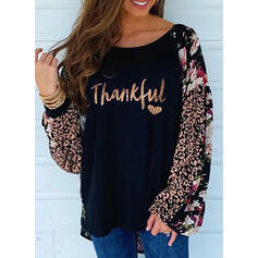 Print Floral Leopard Heart Round Neck Long Sleeves Casual Blouses