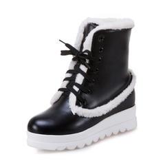 Femmes Similicuir Talon compensé Bout fermé Bottes Bottes mi-mollets Bottes neige avec Dentelle Fausse Fourrure chaussures