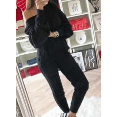 Solid Knit Casual Vintage Plus Size Two-Piece Outfits