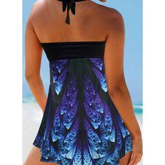 Print String Halter Vintage Swimdresses Swimsuits