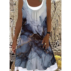 Nadruk Bez Rękawów Suknie shift Długośc do kolan Nieformalny Czołg Sukienki