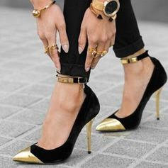 Kvinnor Mocka Stilettklack Sandaler Pumps Stängt Toe med Paljetter Spänne skor