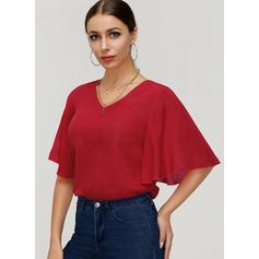 Jednolity Litera V Rękaw 1/2 Casual Elegancki T-shirty