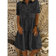 Solid Short Sleeves Shift Knee Length Casual/Denim Dresses