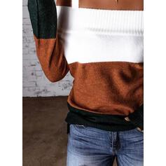カラーブロック コールドショルダー カジュアル セーター
