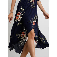 Print/Floral 1/2 Sleeves A-line Asymmetrical Casual Dresses