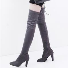Frauen Veloursleder Stöckel Absatz Stämmiger Absatz Stiefel über Knie mit Reißverschluss Zuschnüren Schuhe