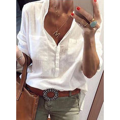 A pois Scollatura a V Maniche lunghe Casuale Maglieria Shirt and Blouses