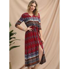 Print/Geometric Print 1/2 Sleeves A-line Midi Casual/Boho/Vacation Dresses