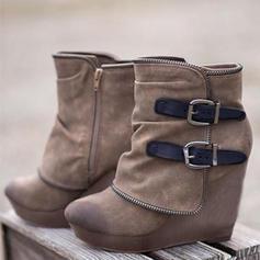 Frauen Veloursleder Keil Absatz Stiefel mit Reißverschluss Schuhe