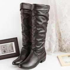 Frauen PU Niederiger Absatz Flache Schuhe Stiefel Kniehocher Stiefel Schuhe