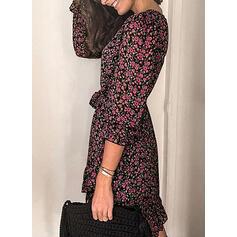 Print/Floral 3/4 Sleeves A-line Above Knee Casual/Elegant Wrap/Skater Dresses