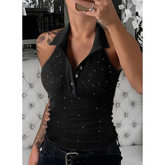 Sequins Solid Lapel Sleeveless Tank Tops