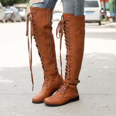 Frauen PU Niederiger Absatz Stiefel über Knie mit Schnalle Zuschnüren Schuhe