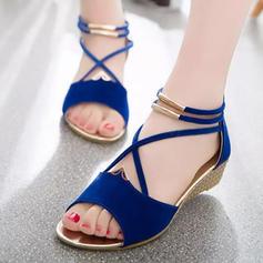 Femmes PU Talon compensé Sandales Compensée À bout ouvert avec Zip chaussures