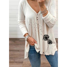 Print Dandelion V-Neck Long Sleeves Button Up Casual Knit Blouses