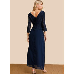 Lace/Sequins/Solid/Backless 3/4 Sleeves A-line Skater Party/Elegant Maxi Dresses