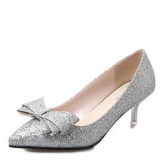 Women's Patent Leather Stiletto Heel Pumps Closed Toe With Bowknot Sequin shoes