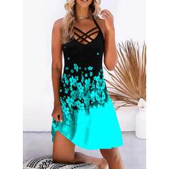 Imprimeu/Floral/Renkli klişe Kolsuz Shift Elbiseleri Până la Genunchi gündelik/Tatil Elbiseler