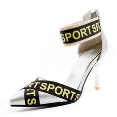 Femmes Similicuir Talon stiletto Escarpins Bout fermé Mary Jane avec Zip chaussures