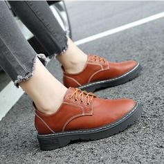 Femmes Similicuir Talon plat Chaussures plates avec Dentelle chaussures