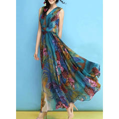 Floral Sleeveless A-line Maxi Boho/Vacation Dresses