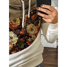 Друк Колірний блок Квітковий Довгі рукави Толстовка з капюшоном