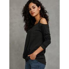 Jednobarevný Jedno rameno Dlouhé rukávy Neformální Bluze