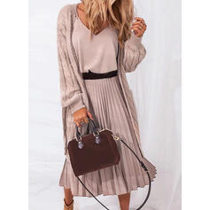 Solid Sleeveless A-line Casual Midi Dresses