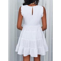 Solid Lace Sleeveless A-line Above Knee Casual Skater Dresses