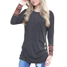 Print Round Neck Long Sleeves Casual Knit Blouses