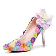 Women's Leatherette Stiletto Heel Closed Toe Pumps With Applique