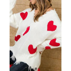 Women's Polyester Print Cable-knit Chunky knit Ugly Christmas Sweater
