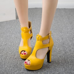 Women's Suede Chunky Heel Sandals Pumps Peep Toe With Buckle Hollow-out shoes