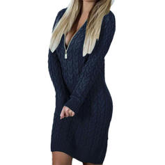Solid/Chunky knit/Cable-knit Long Sleeves Bodycon Above Knee Casual/Long/Oversized Dresses