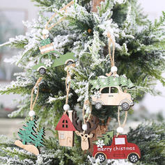 Merry Christmas Hanging Wooden Christmas Pendant Tree Hanging Ornaments (Set of 3)
