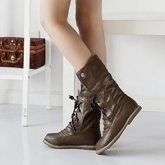 Kvinner Lær Flat Hæl Lukket Tå Mid Leggen Støvler med Flettet Stropp sko