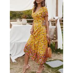Estampado/Floral Manga Curta Evasê Casual/Boho/Férias Midi Vestidos