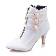 Women's Leatherette Wedge Heel Boots Closed Toe With Buckle Zipper