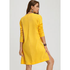 Solid Long Sleeves Shift Knee Length Casual Tunic Dresses