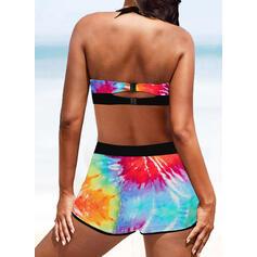 Hög Midja Tryck Splice färg Rem V-ringning Boho bikini Badkläder