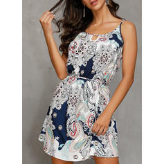 Print Sleeveless A-line/Shift Above Knee Casual/Boho/Vacation Slip Dresses