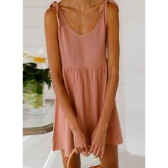 Sólido Sin mangas Tendencia Sobre la Rodilla Casual/Vacaciones Vestidos