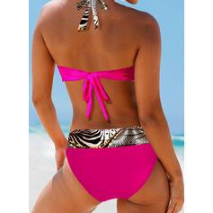 Lampart Nadruk Wiązany na szyi Dekolt w kształcie litery V Seksowny Bikini Stroje kąpielowe