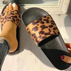 Frauen PU Flascher Absatz Sandalen Flache Schuhe Peep Toe Pantoffel mit Tierdruckmuster Schuhe