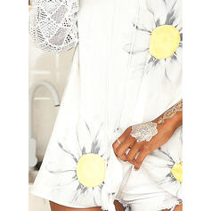 Print Floral Lace V-Neck 1/2 Sleeves Casual Blouses