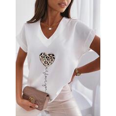 lampart Serce Nadruk Wytłaczany Dekolt w kształcie litery V Krótkie rękawy T-shirty